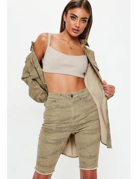 Sand Denim Camo Cycling Shorts by Missguided