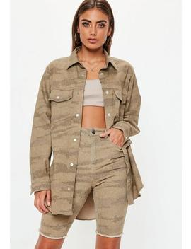 Sand Camo Print Oversized Denim Shirt by Missguided
