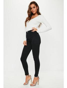 Black Outlaw High Waist Superstretch Jeggings by Missguided