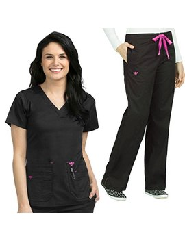 Med Couture Women's Flex It Knit Panel Scrub Top & Signature Straight Leg Scrub Pant Set [Xs   3 Xl] by Med+Couture