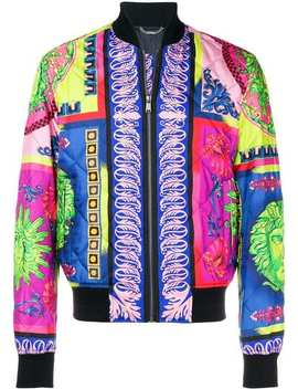Versaceprinted Quilted Bomber Jacketroll Neck Jumperlaced Bootsprinted Quilted Bomber Jacket by Versace