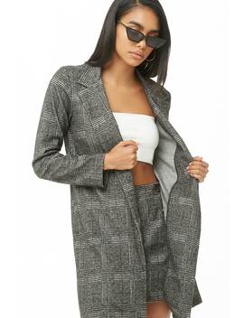 Plaid Longline Jacket by Forever 21