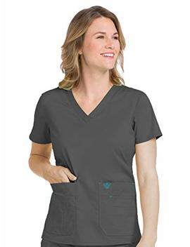 Med Couture Signature Women's V Neckline Flex It Knit Panel Scrub Top by Med+Couture