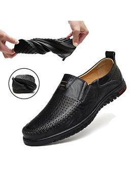 Sanyge Men's Leather Shoes Slip On Casual Loafers Driving Moccasin Shoes by Sanyge