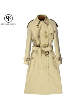 Autumn New England Style Trench Coat For Women Classic Turn Down Collar Double Breasted High End Customization Trench Coat Lp156 by Fifanyi Sikou