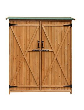 Zimtown Wooden Outdoor Garden Storage Shed With Fir Wood Medium Storage Shed Lockable Storage Unit With Double Doors, Natural Color by Zimtown