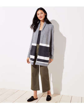 Petite Striped Shawl Pocket Open Cardigan by Loft