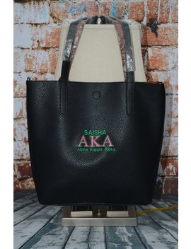 Alpha Kappa Alpha Aka Sorority Personalize Handbag   Monogrammed Embroidery Faux Leather Tote Purse Gym by Etsy