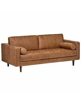 "Rivet Aiden Tufted Mid Century Leather Bench Seat Sofa, 74""W, Cognac by Rivet"