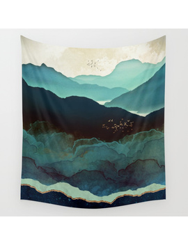 Indigo Mountains Wall Tapestry by