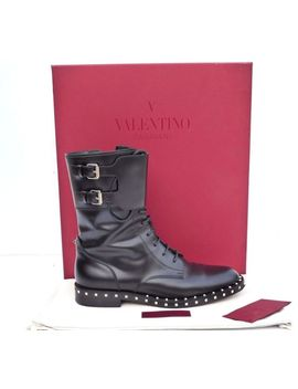 Valentino Garavani Rockstud Leather Combat Boots It 37 1/2 Us 7.5 by Valentino