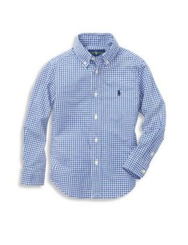 Boy's Gingham Cotton Poplin Button Down Shirt by Ralph Lauren