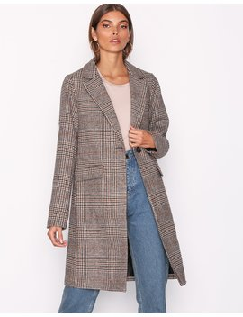 Check Revere Collar Coat by New Look