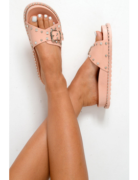 Pink Studded Buckle Sliders   Feliciti by Rebellious Fashion