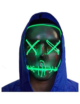 A More Halloween Mask Cosplay Led Glow Scary El Wire Light Up Grin Masks For Festival Parties Costume by A More