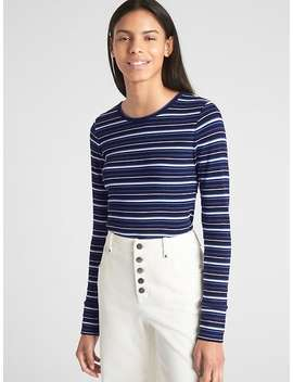 Featherweight Ribbed Stripe Long Sleeve Crewneck T Shirt by Gap