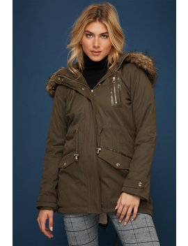 Faux Fur Hawthorn Parka Jacket by Urban Planet