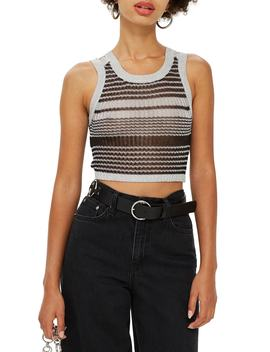 Metallic Yarn Stripe Tank by Topshop