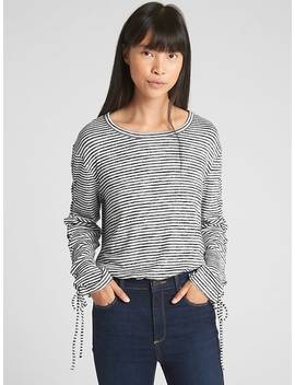 Softspun Stripe Lace Up Long Sleeve Top by Gap