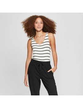 Women's Striped V Neck Tank Top   A New Day™ White/Black by A New Day™