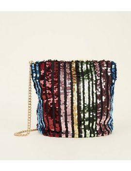 Rainbow Sequin Stripe Bucket Bag by New Look