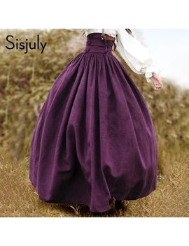 Sisjuly Vintage 2018 Summer Purple Long Skirt Ball Gown Suede Lace Up Pleated Maxi Skirts Button Beach Solid Chic Girls Skirts  by Sisjuly