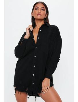 Black Distressed Hem Denim Shirt Dress by Missguided