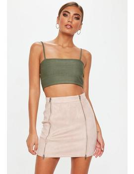 Blush Double Zip Faux Suede Skirt by Missguided