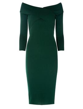 Green Knitted Wrap Dress by Dorothy Perkins