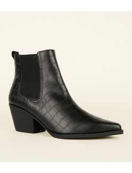 Black Faux Croc Western Chelsea Boots by New Look