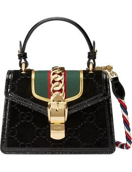Mini Sylvie Velvet Top Handle Bag by Gucci