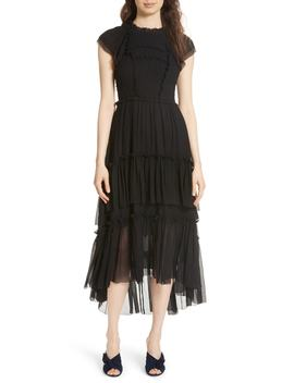 Lenore Smocked Silk Cloqué Dress by Ulla Johnson