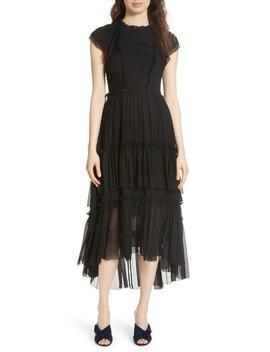 Lenore Smocked Silk Cloqué Dress by Ulla Johnson