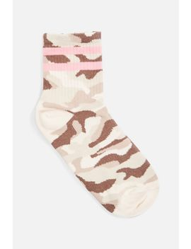 Camouflage Sporty Tube Socks by Topshop