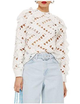 Zig Zag Lace Ruffle Sweatshirt by Topshop