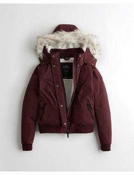 Cozy Lined Bomber Jacket by Hollister