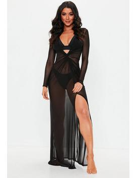 Black Sheer Thigh Split Maxi Dress by Missguided