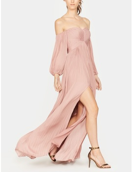 Off Shoulder  Pleated Gown by Halston
