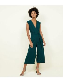 Dark Green Lace Trim Wrap Culotte Jumpsuit by New Look