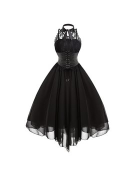 Gamiss 2017 Gothic Bow Party Dress Women Vintage Black Sleeveless Cross Back Lace Panel Corset Swing Dress Robe Vestidos Femme by Gamiss