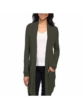 Womens Lightweight Casual Open Front Drape Long Cardigan With Pockets For All Season by Hy Brid & Company
