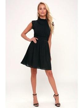 Francine Black Sleeveless Skater Dress by Lulus