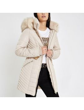 Cream Faux Fur Trim Belted Padded Jacket by River Island