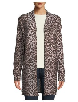 Leopard Print Cashmere Duster Cardigan by Neiman Marcus Cashmere Collection