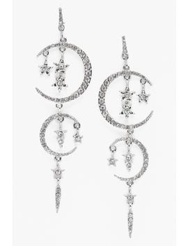 Moon And Star Diamante Earrings by Boohoo