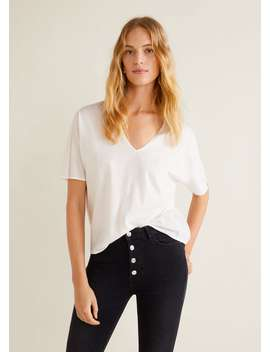 Pleats Cotton T Shirt by Mango