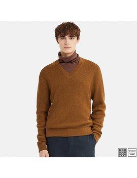 Men Uniqlo U Wool V Neck Long Sleeve Sweater by Uniqlo