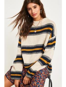 Uo Beige Stripe Jumper by Urban Outfitters