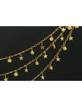 Star & Clam Handmade Chain, Cj31 03, Nickel Free, 1m, 16 K Gold Plated Brass, Necklace Chain, Unique Chain, Gold Dainty Chain, Gbs 5043 by Etsy