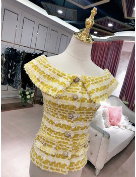 Kenvy Brand Fashion Women High End Luxury Slim Summer Lemon Yellow Tweed Sleeveless Braided Tassel T Shirt Top by Kenvy